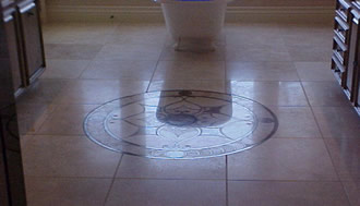 Honed travertine with  polished medallion.